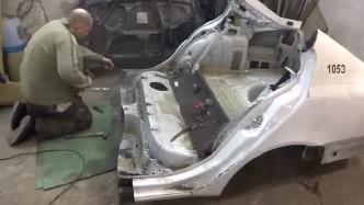 撞塌的汽车原来是这样修复的,简直像按了一键修复,太牛了