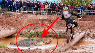 小伙骑摩托车过独木桥,往下一看,立马掉头就跑