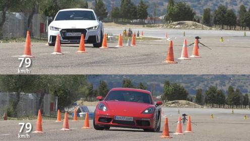 麋鹿测试,奥迪TT RS vs 保时捷718 (46播放)