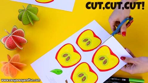 幼儿园3d水果卡纸视频教程:一步一步教你做出立体小苹果