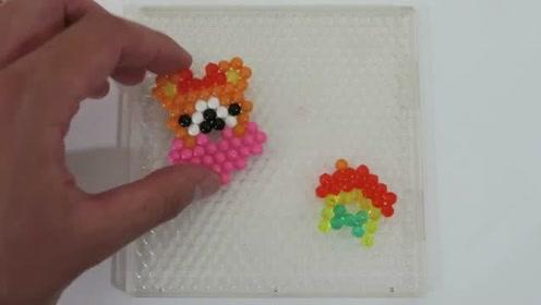 凯蒂猫超级可爱玩具DIY彩色珠子粘贴玩具拆盒小