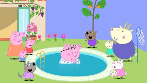 简笔画:小猪佩奇去旅游景区玩,佩奇觉得掉进泳池里的爸爸有些糊涂