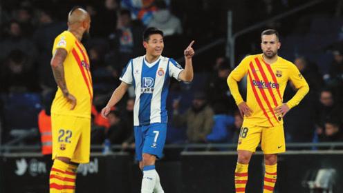 西甲官方评选西班牙人19/20赛季10佳进球,武磊绝平巴萨强势入围!