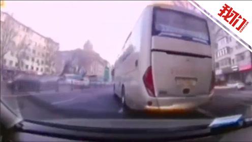 视频记录哈尔滨一大客车1分钟恶意别车4次 司机被罚200元记3分
