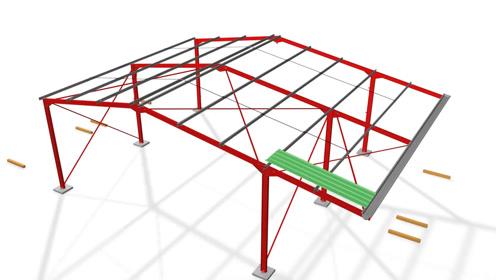 3d动画展示钢结构厂房搭建流程,铁皮包围,夏天在里面上班酸爽