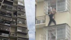 生命的托举!4岁男童卡6楼防盗网,辅警徒手救援