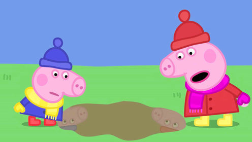 手绘简笔画,小猪佩奇和乔治穿上厚厚的外套在花园里玩