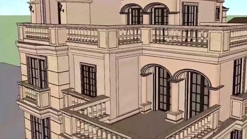 大气豪华的欧式三层别墅,墙体干挂石材,大露台老虎窗