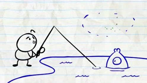搞笑铅笔动画:阿呆想抓蚯蚓去钓鱼,结果自己