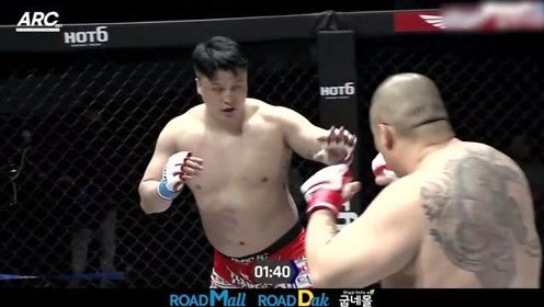MMA精彩KO集锦,200多斤胖子疯狂互殴,场面燃爆了