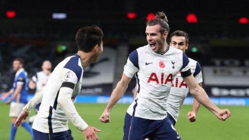 贝尔回归英超后首球,凯恩点球破门,热刺2-1战胜布莱顿!