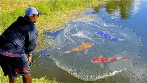 男子河边游玩,用渔网捕获一堆鱼,结果真好笑