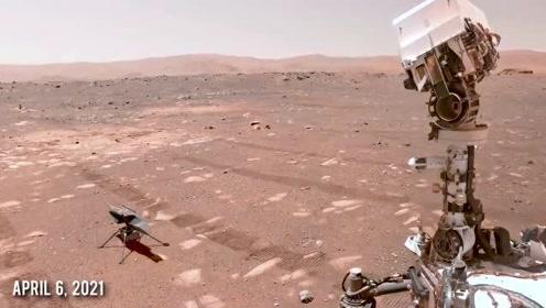 在历史性的飞行前,直升机在火星上自拍