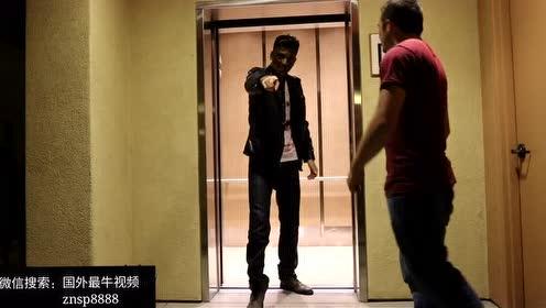 国外电梯恶搞