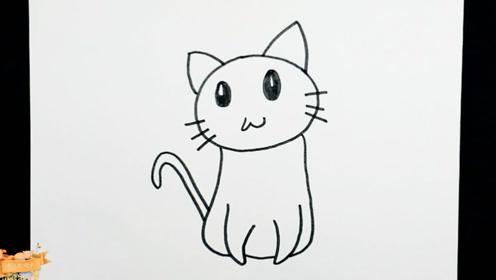 一分钟简笔画,如何轻松教宝宝学画萌萌的猫咪
