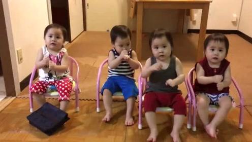 可爱的四胞胎跟着妈妈学跳萌舞,蠢萌的小老二总是跟不上节奏!