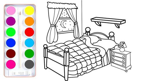 儿童简笔画 我的漂亮卧室小窗户