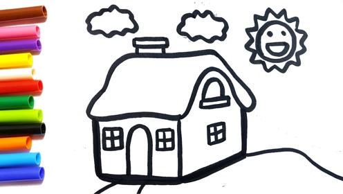 亲子简笔画:画画阳光下的小房子