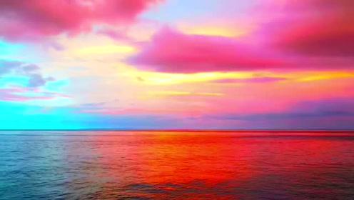 自拍傍晚海边景色