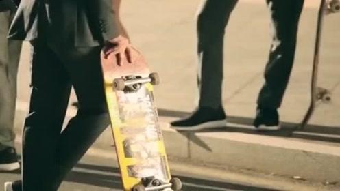 穿着西装玩滑板,帅到全程不想眨眼!