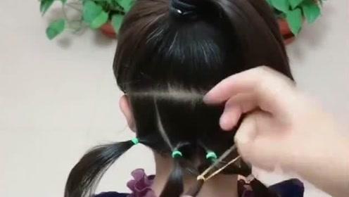 女儿开学就这样扎头发,简单又不散,再也不是同学的陪衬!