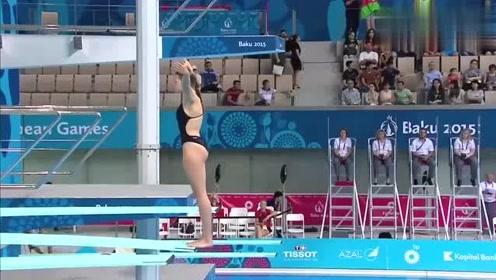 美女跳水比赛失误瞬间,下一秒裁判估计懵了,发生了什么