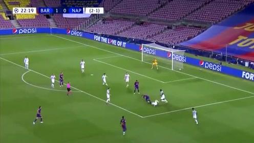 根本拦不住,梅西欧冠独闯连过3人倒地搓弧线破门,太精彩了