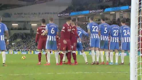 红军前场连线菲尔米诺调皮庆祝 17-18赛季利物浦5-1大胜布莱顿