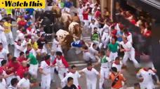 西班牙奔牛节数万民众狂奔 男子被公牛顶翻踩到