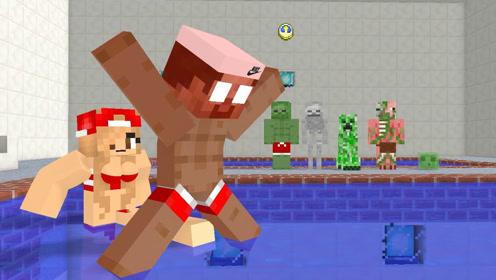 我的世界 游泳池里的各种搞怪 搞笑动画