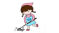 五一劳动节画一名打扫卫生的女孩