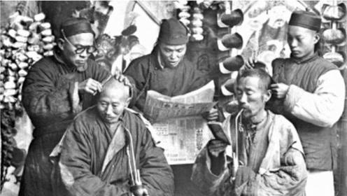 """中国理发行业的历史变迁,图一是清末理发店,图九是""""发廊妹"""""""