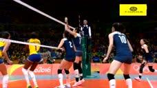 里约奥运会中国女排VS巴西第五局 颜妮网口四两拨千斤抹吊球!