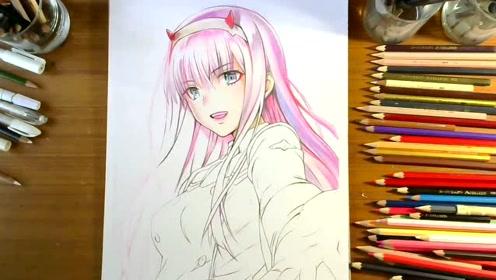 彩铅动漫女主角darling 02手绘视频教程