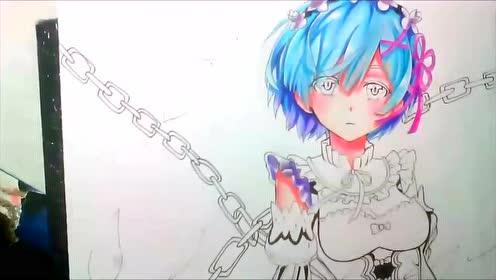 彩铅手绘女孩与枷锁动漫人物 zero 很有感觉的动漫画 一起试试吧