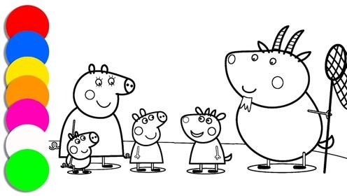 儿童简笔画:小猪佩奇和苏西一起捕捉昆虫
