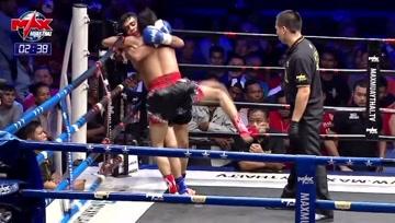 泰拳比赛,无情按倒,让你看看泰拳的摔跤技有多么帅气