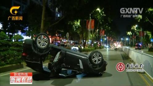 越野车追尾后后逃逸,逃跑中又撞上一辆车后翻车,现场视频曝光