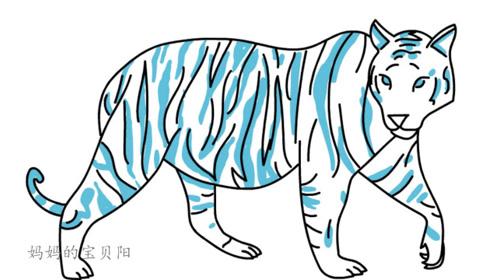 育儿简笔画,如何画一只老虎,亲子绘画素材