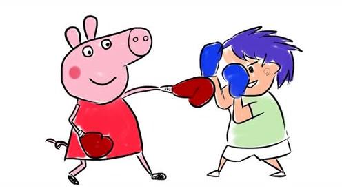 小猪佩奇学习拳击增强体质卡通简笔画图片