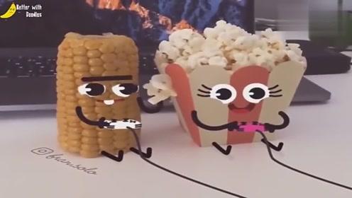 超萌动漫:小土豆在爸爸面前耍大刀 玉米和爆米花一起玩儿游戏
