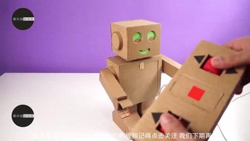 手工达人教你用纸板制作一个遥控机器人,遥控器也是纸板制作