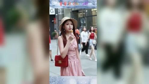 重庆街头一幕,美女穿出了沙滩的感觉,看见正脸感觉恋爱了