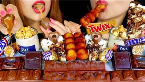 美食吃播,母女俩吃焦糖甜点,士力架、冰淇淋,吉百利巧克力
