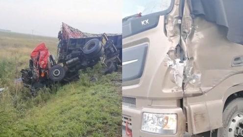 吉林2辆货车凌晨迎面相撞,一司机当场死亡,视频曝光惨不忍睹一幕