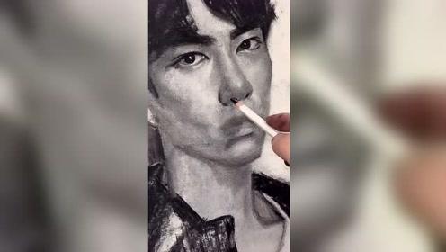 有种买一送一叫做肖战遇上美术生,话说,这画的真的不是王一博?