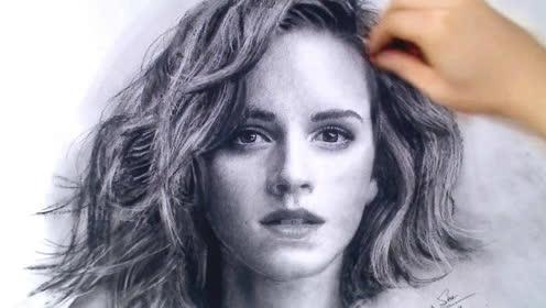 艾玛特 沃特森肖像绘画视频,素描绘画技巧