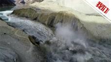 航拍金沙江堰塞湖开始大流量放水 江水奔腾场面
