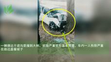 一辆捷达干进沟里撞到大树 车基本报废车内一人