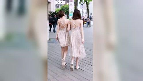 街拍杭州小姐姐,一对大美背,神仙闺蜜,太养